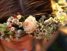 Spray rose, Astrantia, Brunia, waxflower and Nigella flower crown by www.cherfoldottage.flowers.com