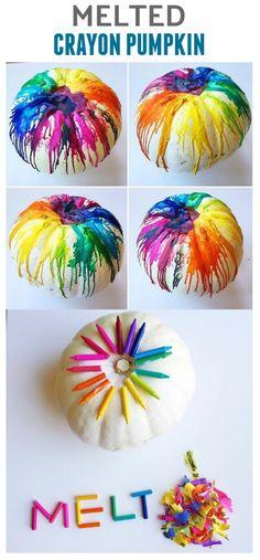 Melted crayon pumpkin decorating idea