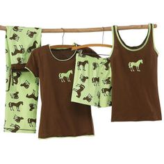 Pistachio Horse Silhouette Ladies PJ Tee - Horse Themed Gifts, Clothing, Jewelry & Accessories all for Horse Lovers
