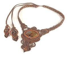 Macrame Necklace Bronzite With Brown Thread Hot от neferknots