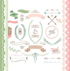 Laurels clipart Ribbons Wreaths Banners Boarders by GraphicMarket, $4.99