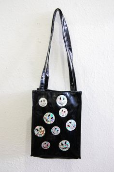 90s Club Kid Cyber Rave Black Vinyl Glitter Holographic Smiley Happy Face Tote Bag