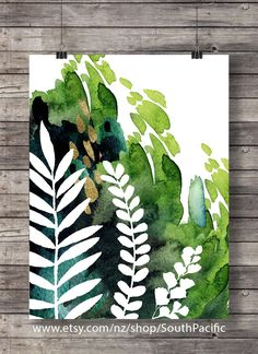 Printable art   Green Watercolor foliage leaf print   green abstract plant   tropical leaf botanical illustration   Instant download