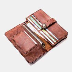 Hot-sale Men Vintage Card Holder Solid Phone Bag Long Wallet - NewChic Mobile Mens Long Leather Wallet, Long Wallet Men, Vintage Cards, Vintage Men, Cow Leather, Clutch Wallet, Clothes For Sale, Shopping Bag, Card Holder