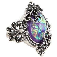 Hot Topic Filigree Galaxy Stone Ring ($4.87) ❤ liked on Polyvore featuring jewelry, rings, multi, stone jewellery, planet rings, filigree ring, iridescent jewelry and filigree jewelry