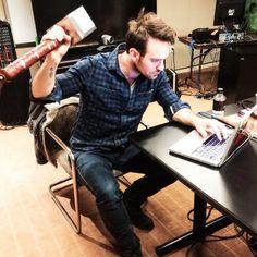 Charlie Cox (Daredevil) holding Mjolnir, he's worthy