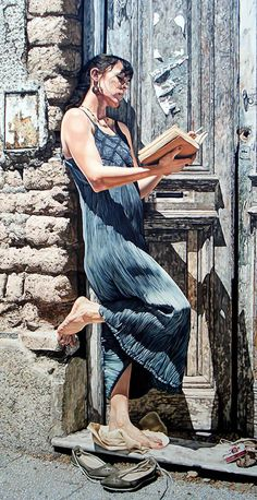 Mauro Cano (b. 1978), watercolor {figurative realism art beautiful female standing woman reading book cropped painting #loveart #2good2btrue} <3