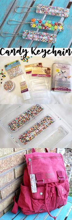 Candy Sprinkles Resin Keychain DIY! These keychains can be customized and make the perfect handmade gift for the holidays. via @resincraftsblog