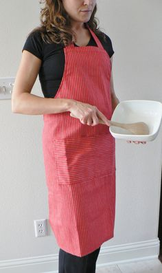 Apron, Up-cycled, Red and white stripe apron , eco- friendy apron, cotton bakers apron with pockets, Red bakers apron