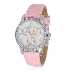 821f0cfaa STRADA Austrian Crystal Japanese Movement Watch with Light Pink Leather Strap  and Stainless Steel Back Movement