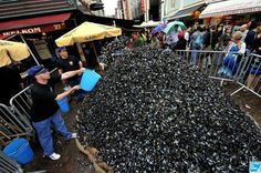 """Mountain of mussels during """"la braderie"""" Lille"""