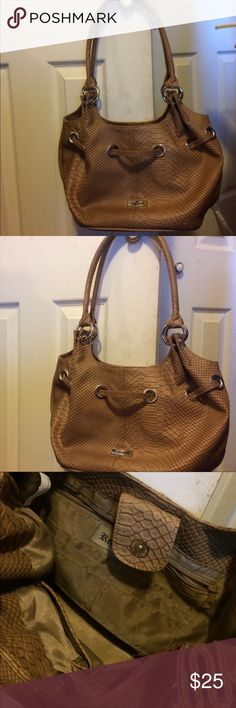 Pocketbook Tan nice pocketbook with double strap, siilver stylish rings. Roomy with 3 inside pockets and six cardholder area. Reflections Bags Shoulder Bags