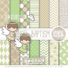 https://www.etsy.com/mx/listing/488289533/bautizo-papel-digital-clipart-verde #baptism #christening #angels #babyboy #angeles #bautizo #Invitations #graphicdesign #diy