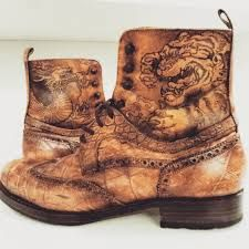 leather boots unique pyrography