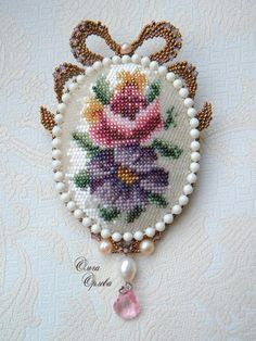 Items similar to Paris Inspired Repurposed Vintage Stitched Pendent Necklace on Etsy Beaded Embroidery, Cross Stitch Embroidery, Hand Embroidery, Beaded Brooch, Beaded Jewelry, Jewellery, Minis, Barrettes, Beaded Cross