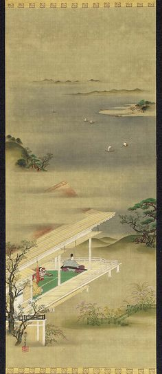 Akashi from the Tale of Genji  Genji Monogatari zu first half of the 19th century  Kano Seisen'in Osanobu, Japanese, 1796–1846