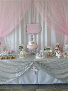 Baby Girl Pink Baptism dessert table cake table