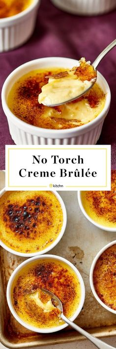 No torch required for this simple custard dessert… BEST Easy Creme Brulee Recipe. No torch required for this simple custard dessert! Perfect if you're looking for recipes and ideas for Valentine's Day for two! Pudding Desserts, Custard Desserts, Köstliche Desserts, Delicious Desserts, Yummy Food, Easy Recipes For Desserts, Easy Recipes For Two, Filipino Desserts, Dinner Recipes