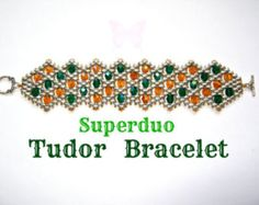 Tutorial Superduo Tudor Bracelet Pattern Twin Beads, Fire polish beads and seed beads. Suitable for all levels.