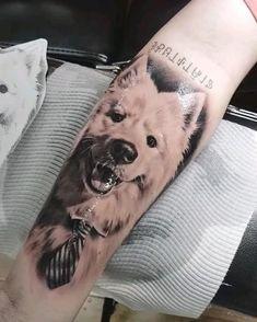 Dog Portrait Tattoo, Australian Tattoo, Tattoo Videos, Realism Tattoo, Samoyed, Australian Artists, Dog Portraits, Arm Tattoo, Tattoo Artists