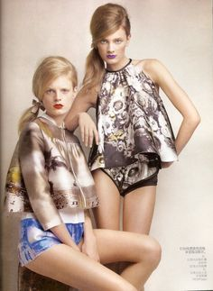 """Hanne Gaby Odiele and Constance Jablonski in """"The Voice of Spring"""" by Patrick Demarchelier Vogue China March 2010"""