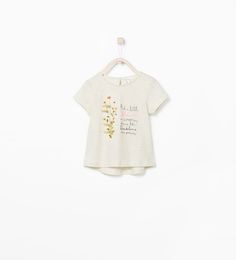 ZARA - KIDS - TEXT AND FLOWERS APPLIQUE T-SHIRT