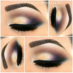 Purple + Gold Eye Shadow Urban Decay Cosmetics #VICE2 palette. To line eyes- Motives Cosmetics Luxe Precision Eyeliner in Jet Black rm