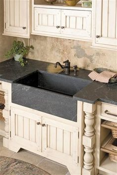 soapstone farmhouse sink in polished front apron with single bowl at