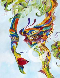 painting by Alyssa Marie Abstract Portrait, Portrait Art, Abstract Art, Illusion Art, Blue Painting, Pencil Art Drawings, Art Abstrait, Face Art, Bird Art