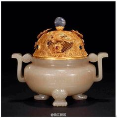 Antique: Traditional Chinese jade censor with gold top