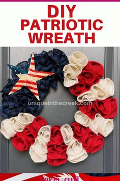 Celebrating the Red, White & Blue? This Patriotic Wreath is perfect as Fourth of July decor and summer front porch decor! Discover how to easily create this DIY wreath project by grabbing your very own Ring Wreath Board at Unique in the Creek and then subscribe to our Youtube Channel for live videos on creating your very own DIY Patriotic Wreath and so much more! DIY and crafting has never been easier! Shop now: #patrioticwreath #summerwreath Patriotic Quilts, Patriotic Crafts, Patriotic Wreath, July Crafts, Holiday Crafts, Holiday Decor, Fourth Of July Decor, 4th Of July Decorations, July 4th