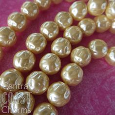 NEW LISTING ~ 12mm Antique Ivory Cream Baroque Hammered Czech Glass Pearl Beads - 20 pcs - Shabby Vintage Style - Central Coast Charms - NEW SIZE