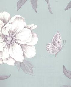 Ashton Peony Blue and Metallic Silver Wallpaper