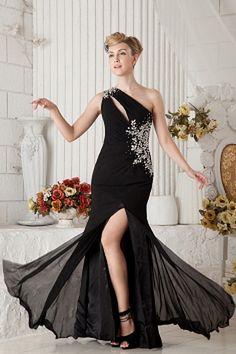 Weekly Special Product: Chiffon Mantel / Spalte Ein-Schulter Heimkehr Kleid ma1851 - Order Link: http://www.modeabendkleider.de/chiffon-mantel-spalte-ein-schulter-heimkehr-kleid-ma1851.html - Farbe: Black; Silhouette: Mantel / Spalte; Ausschnitt: Eine Sch