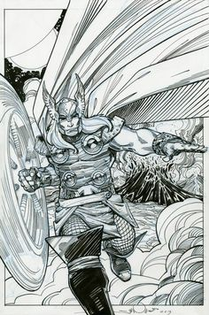 Thor on the Battleplain of Vigrid by Walt Simonson. Pen and India ink on blue-lined paper. 16.5 x 11. 2013. A drawing for the CAPS auction to benefit Stan and Sharon Sakai.