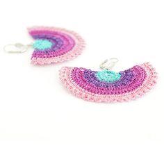 Crochet Bohemian Chic Dangle Earrings in Purple, Mint, Powder Pink... ($30) ❤ liked on Polyvore