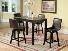 Kitchen, Fancy Black Kitchen Table Set Tall Kitchen Table ~ Cozy Tall Kitchen Table for Large Kitchen Design