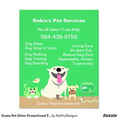 Flyer for pet sitters. Green flyer with pet group: big happy dog, small dog, cat, bird, and snake. for pet care providers who handle a variety of animals. Pet Insurance Reviews, Pet Health Insurance, Best Pet Insurance, Life Insurance, Insurance Website, Insurance Business, Blue Merle, Lab, Brochures