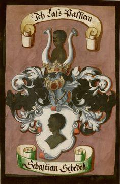 «Nürnberger Schembartbuch» (Nüremberg Carnival Book) [Schempart Buech : darin zu finden in was Klaidtung und Manir die Geselschafften sein ausz gelauffen zu Fassnacht zeiten von 1449 Jar an bis auf 1539 und was sich in einem jeden Jar begeben hatt auch der Meserer und Menschen dann], Nürnberg, Germany, 1590/1620 [UCLA Coll. 170. MS. 351] -- Coat of arms of Sebastian Schede(ß?) (Page 1) -- Presentation at…