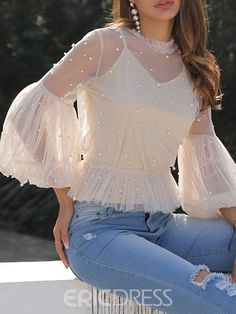 Round neck lantern sleeve beaded three-quarter sleeve standard blouse - Women Dresses for Every Age!