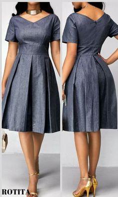 rotita Denim Short Sleeve Fit and Flare Knee Length Dress Short Sleeve Band Waist Pleated Dress Cute Dresses, Beautiful Dresses, Casual Dresses, Dresses Dresses, Pleated Dresses, Denim Dresses, Pleated Skirt, Grey Dresses, Church Dresses