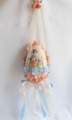 Crazy Embellished Victorian Easter Egg Ornament: