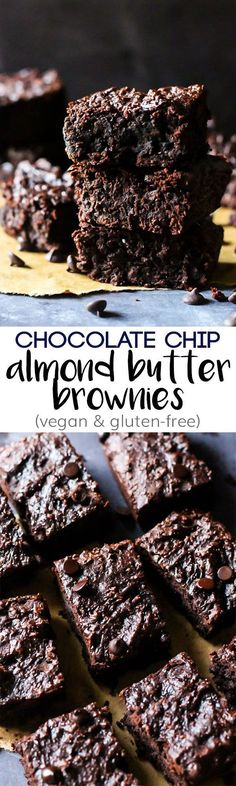 These Chocolate Chip Almond Butter Brownies taste like a decadent dessert, but they're also vegan, gluten-free & date-sweetened! Rich, fudgy & satisfying. Low Carb Dessert, Vegan Dessert Recipes, Gluten Free Desserts, Dairy Free Recipes, Vegan Gluten Free, Healthy Baking, Healthy Desserts, Just Desserts, Delicious Desserts