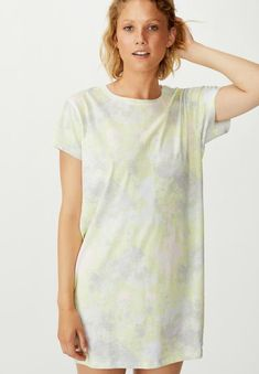 To the knee length. Short sleeve T-shirt shaping. Light and soft jersey knit fabric. Hip Bones, Lingerie Sleepwear, Knitted Fabric, Tunic Tops, Cotton, Shirts, Clothes, Women, Fashion