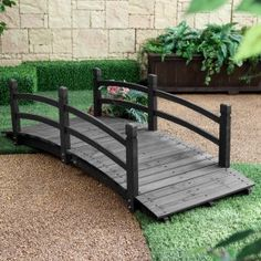 Coral Coast Harrison 8-ft. Wood Garden Bridge - Dark Stain - Make your backyard or garden as pretty as a painted picture with a Coral Coast Harrison 8-ft. Wood Garden Bridge - Dark Stain . Weather-resistant fir...