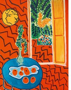 "(Red Interior, Still Life On A Blue Table"" (1947) is reproduced from <i>Henri Matisse: The Oasis of Matisse</i>."