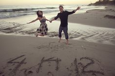 save the date - engagement photo - date in sand- ahhhh! so cute!