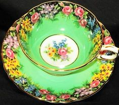 Paragon English Garden Lime Black Tea Cup and Saucer