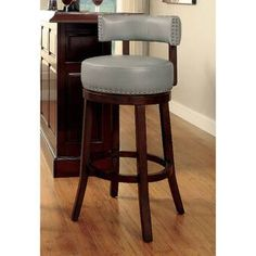 Furniture of America Adrina Contemporary Style Leatherette 24 in. Swivel Bar Stool - Set of Grey 24 Bar Stools, Swivel Bar Stools, Bar Chairs, Office Chairs, Room Chairs, Contemporary Bar Stools, Contemporary Style, Bar Counter, Counter Stools