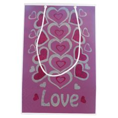 Love Hearts Gift Bag-Medium, Matte